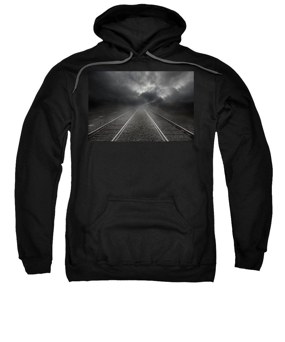 Railroad Tracks Sweatshirt featuring the photograph What Lies Ahead by Lori Deiter