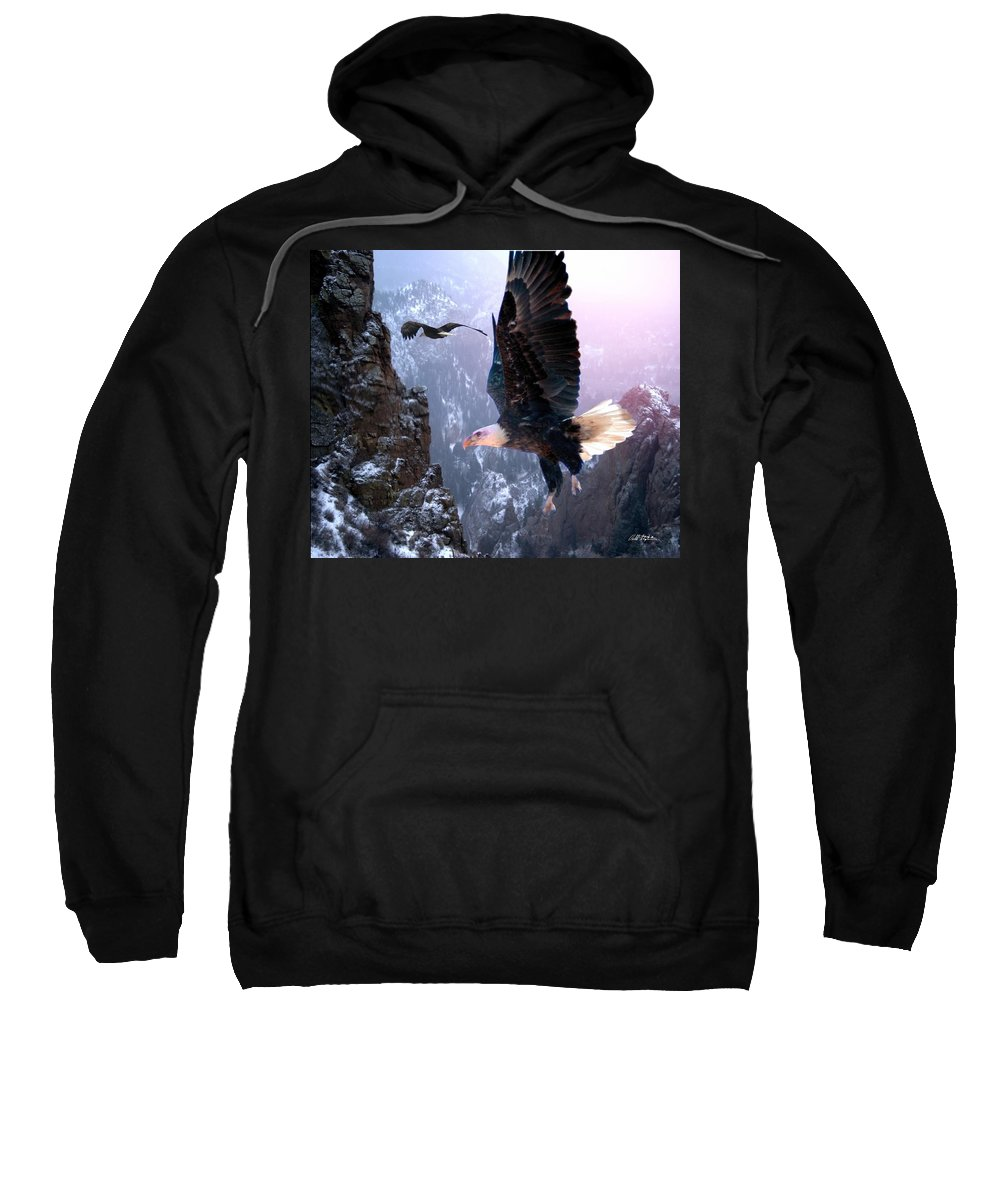 Eagles Sweatshirt featuring the digital art Where Eagles Dare by Bill Stephens