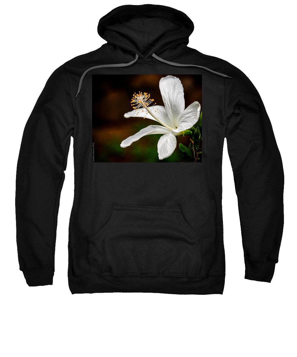 Hibiscus Sweatshirt featuring the photograph White Hibiscus II by Debbie Karnes