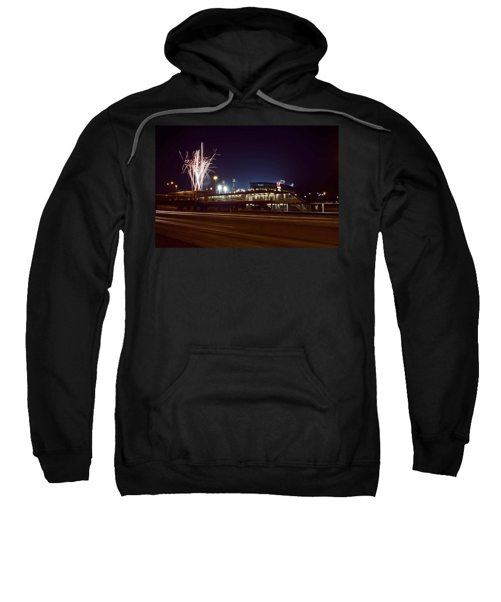 Chicago Sweatshirt featuring the photograph White Sox Homer Fireworks by Sven Brogren