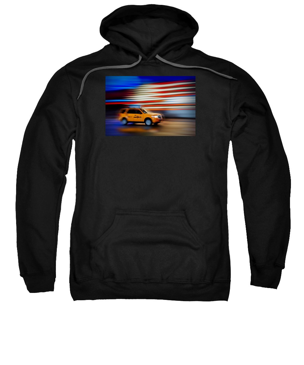 New York City Taxi Sweatshirt featuring the photograph Whizzing Along by Susan Candelario