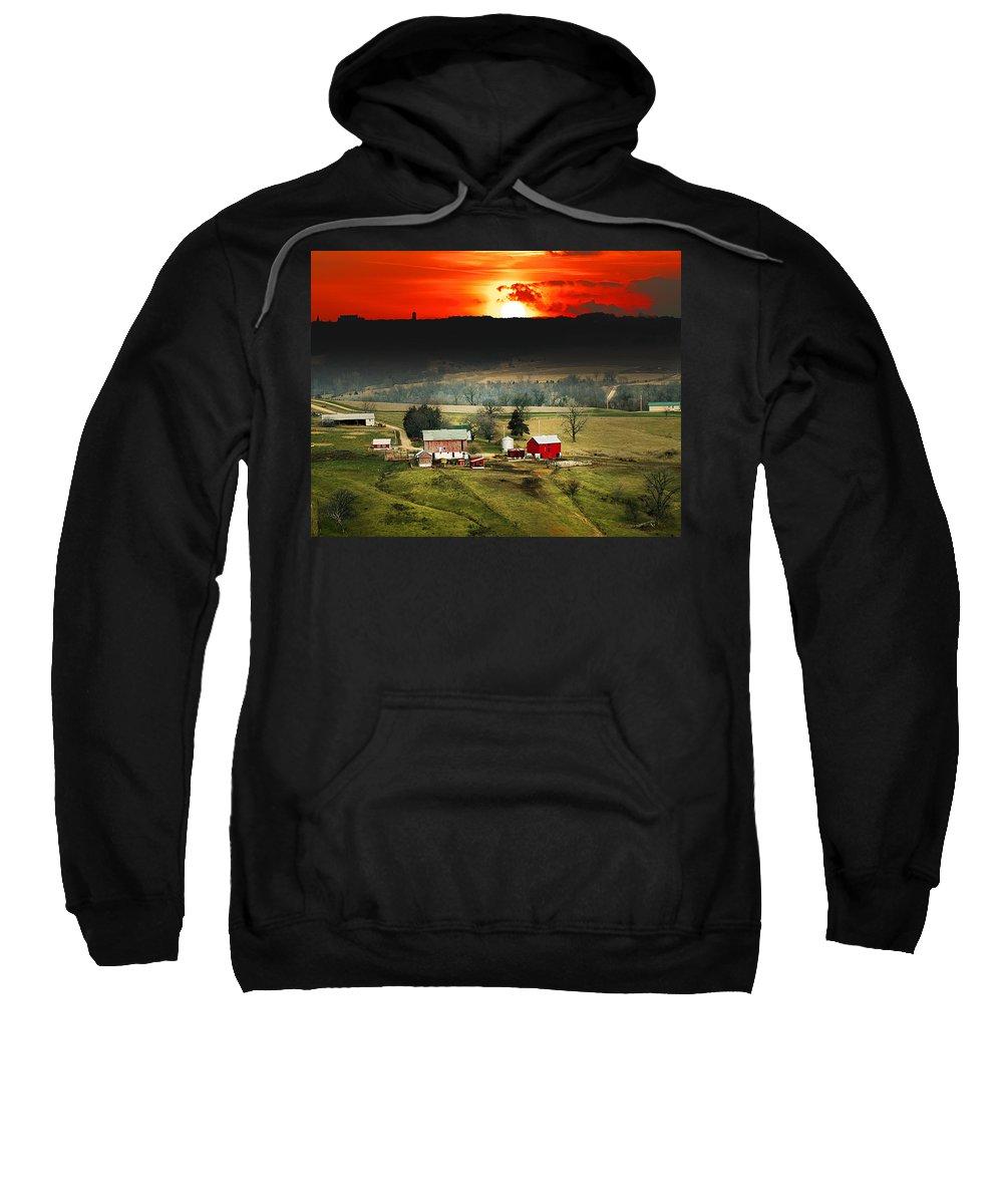 Wisconsin Farm Red Sunset Sweatshirt featuring the photograph Wisconsin Farm by Randall Branham