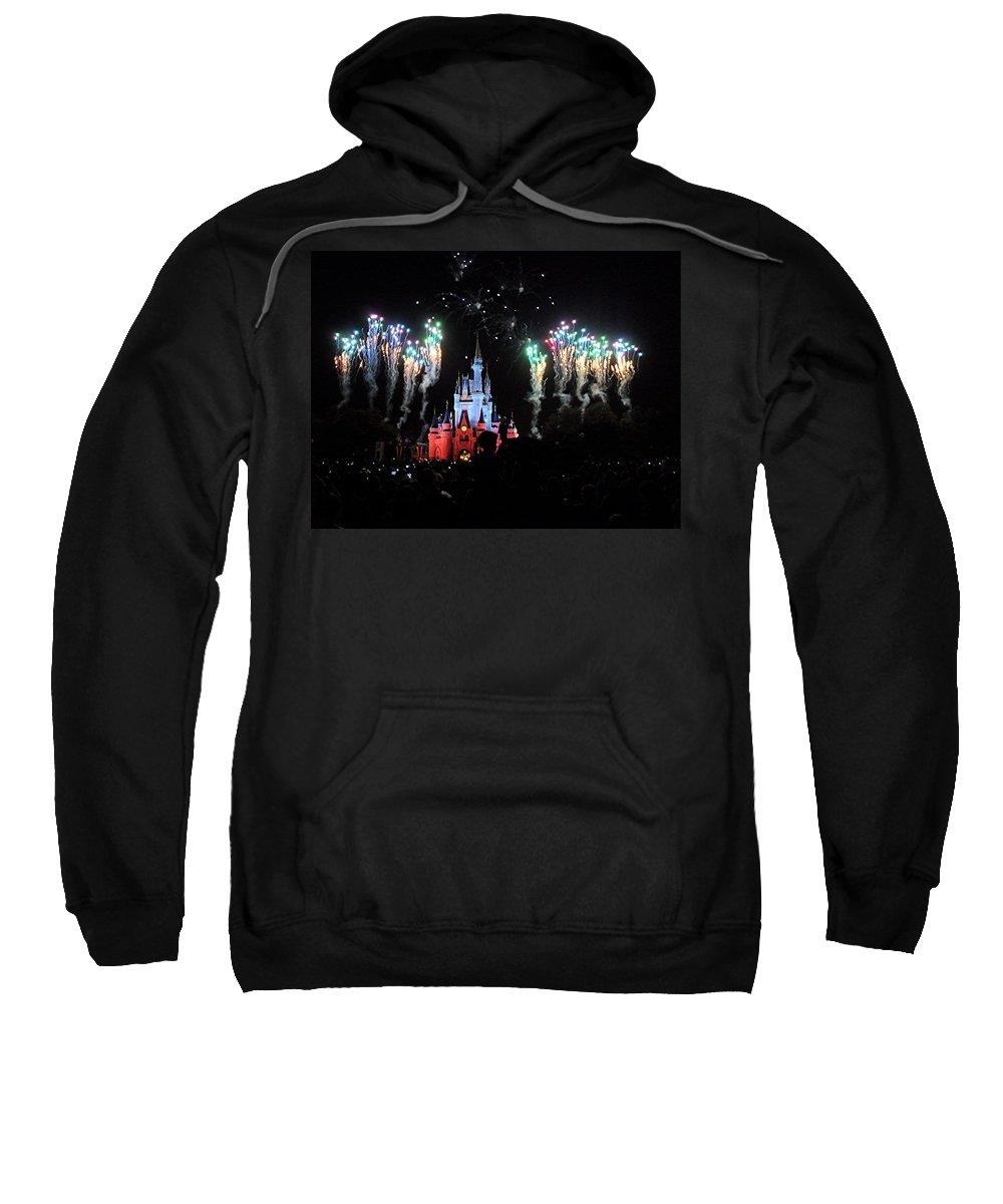 Magic Kingdom Sweatshirt featuring the digital art Wishes At The Magic Kingdom by Barkley Simpson