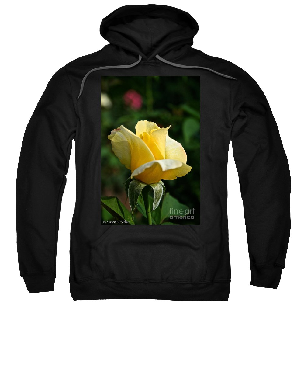 Plant Sweatshirt featuring the photograph Yellow Bud by Susan Herber