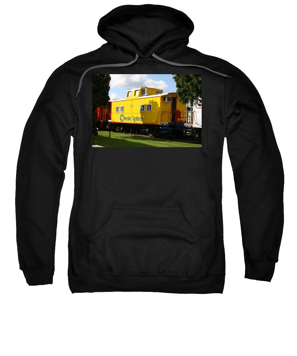Caboose Sweatshirt featuring the photograph Yellow Caboose by Tila Gun
