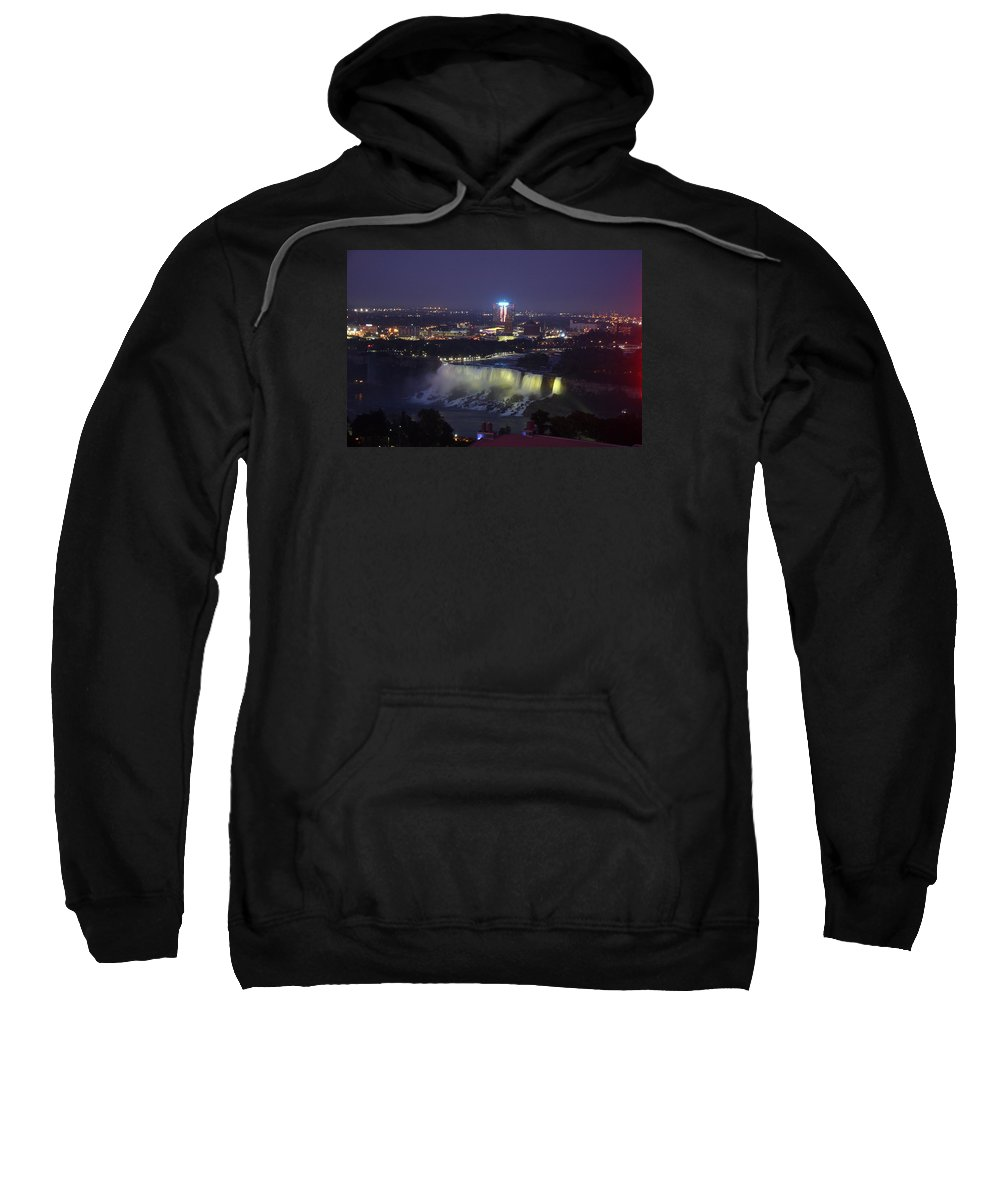 Niagara Falls Sweatshirt featuring the photograph Yellow Light Over The Niagara Falls - Canada by Christiane Schulze Art And Photography