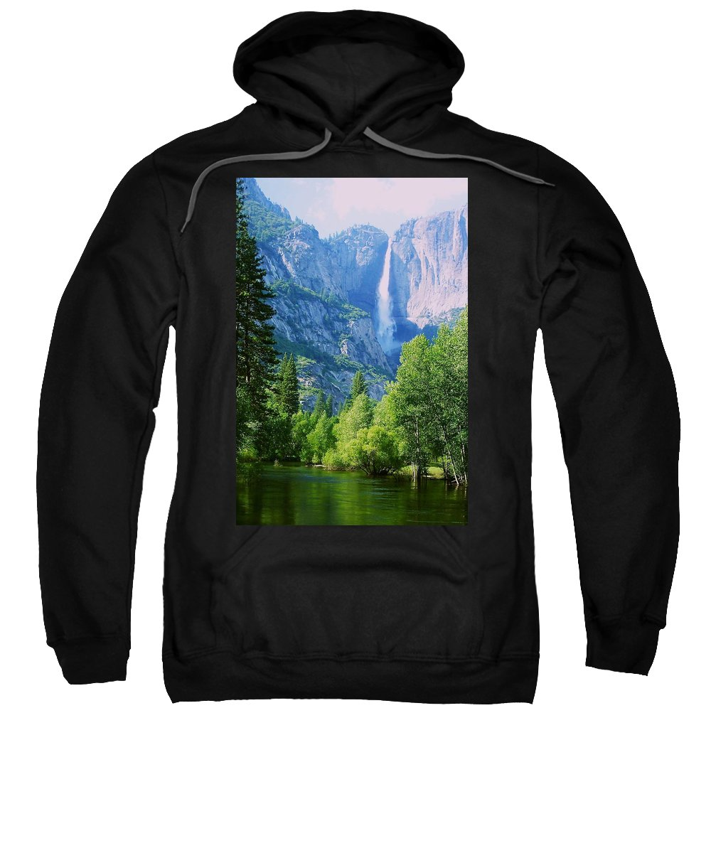 Merced River Sweatshirt featuring the photograph Yosemite Falls And Merced River by Eric Tressler