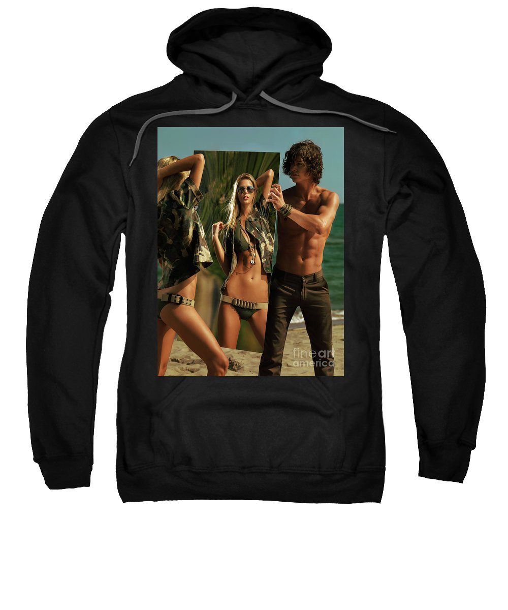 Couple Sweatshirt featuring the photograph Young Man Holding A Mirror For A Woman by Oleksiy Maksymenko