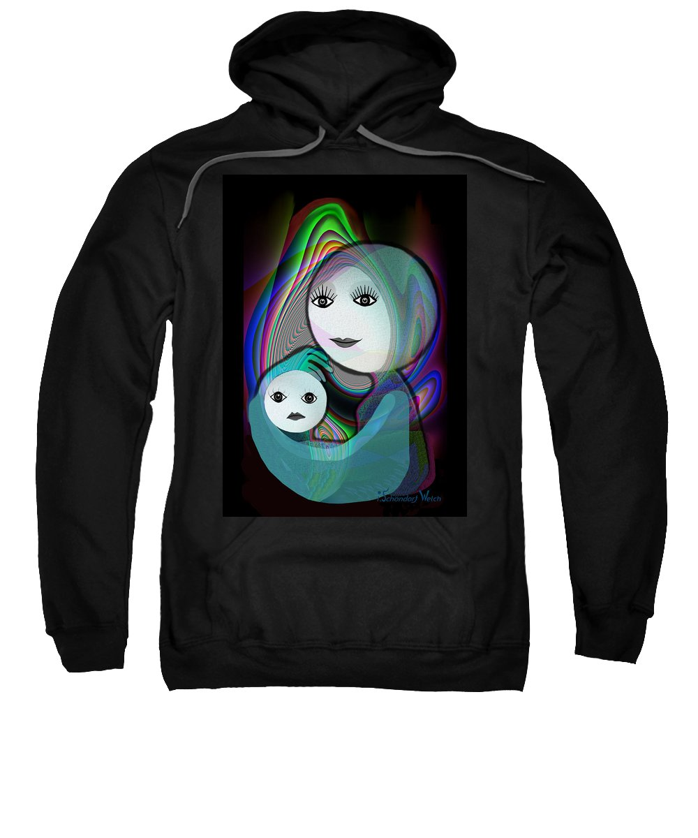 Mother And Child Sweatshirt featuring the painting 044 - Full Moon Mother And Child  by Irmgard Schoendorf Welch