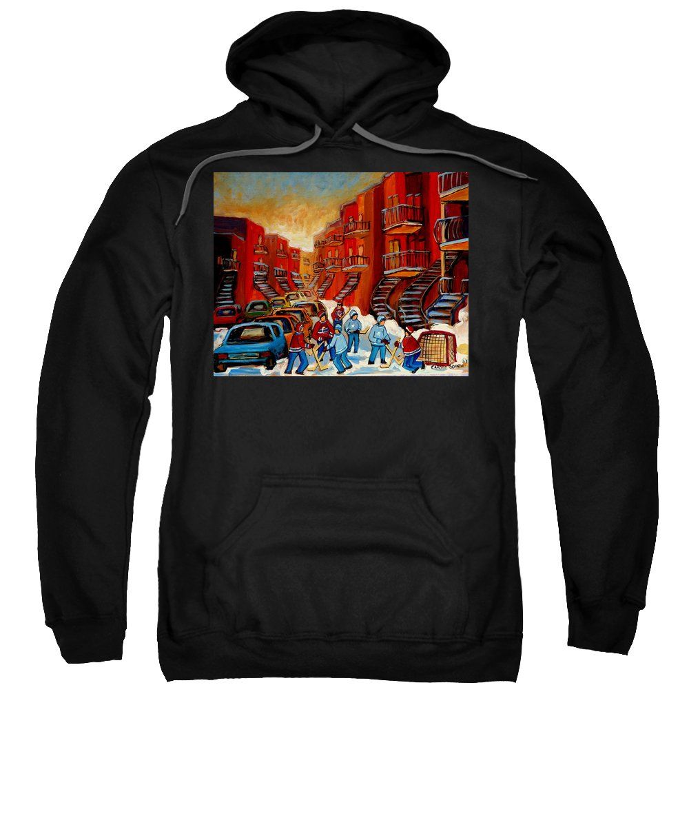 Hockey Sweatshirt featuring the painting A Beautiful Day For The Game by Carole Spandau