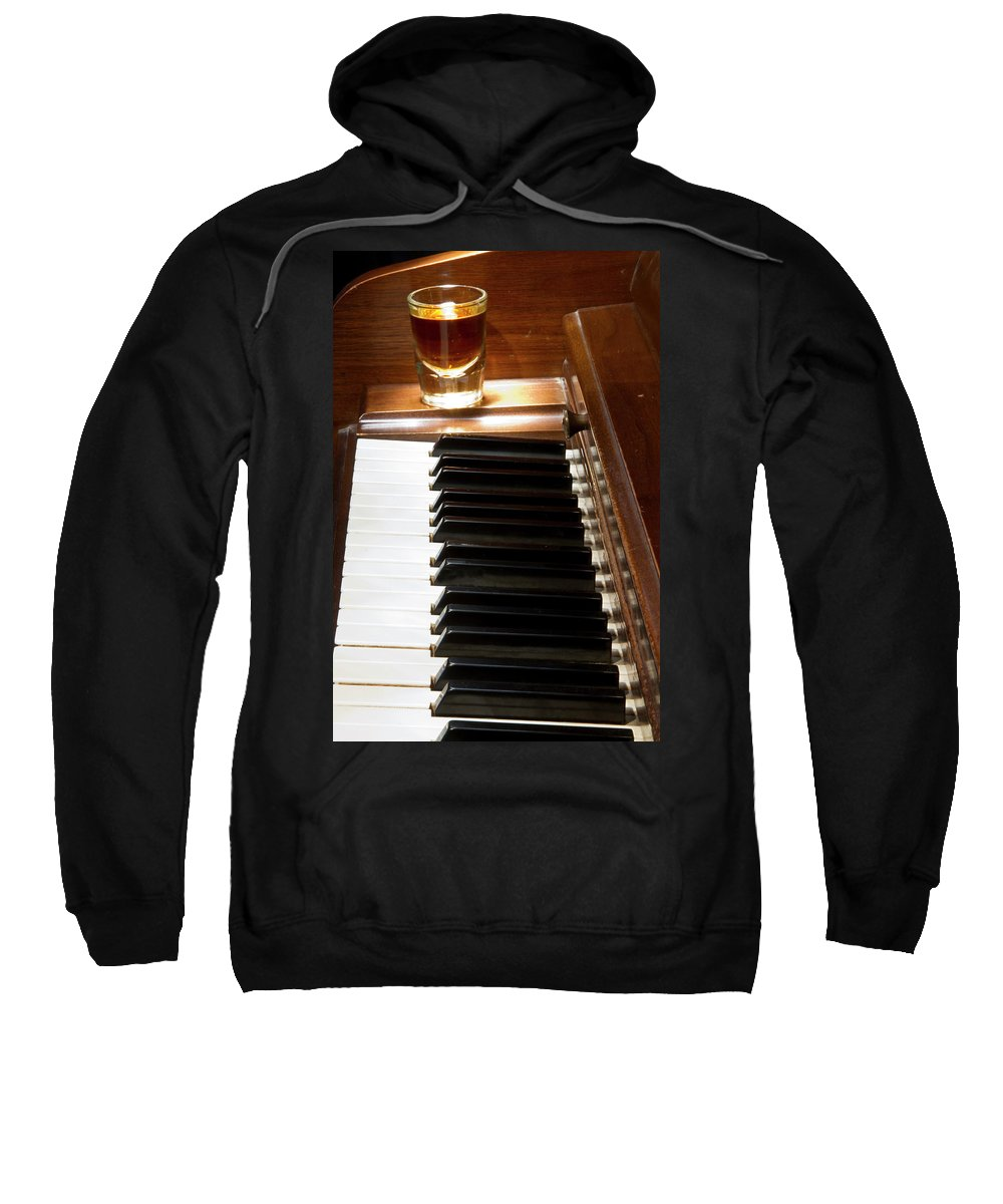 Piano Sweatshirt featuring the photograph A Shot Of Bourbon Whiskey And The Black And White Piano Ivory K by James BO Insogna