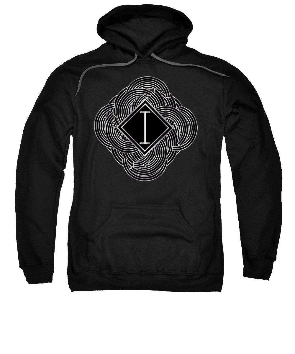 Monogram Sweatshirt featuring the digital art Deco Jazz Swing Monogram ...letter I by Cecely Bloom