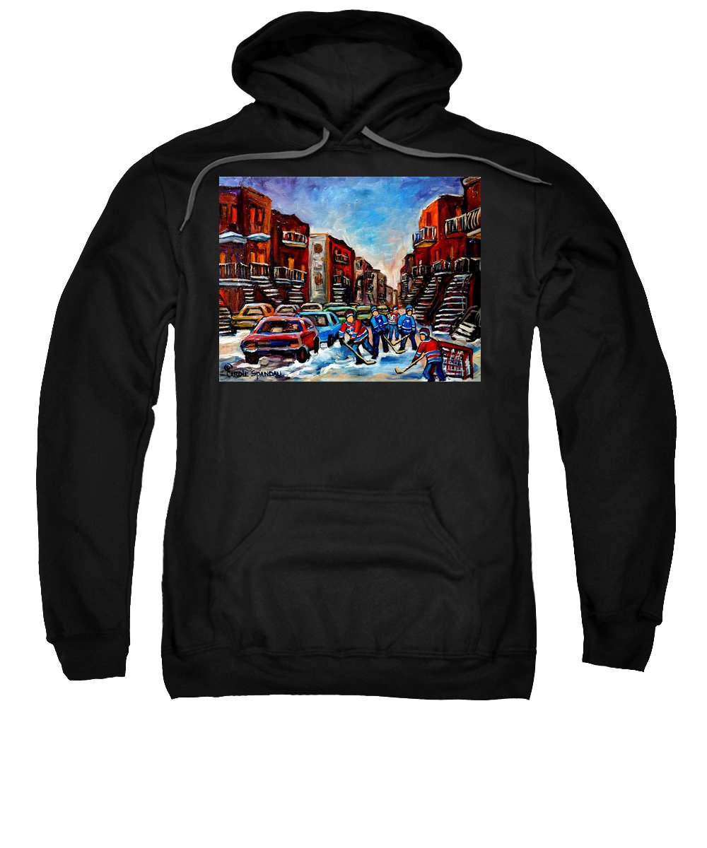 Montreal Sweatshirt featuring the painting Late Afternoon Street Hockey by Carole Spandau