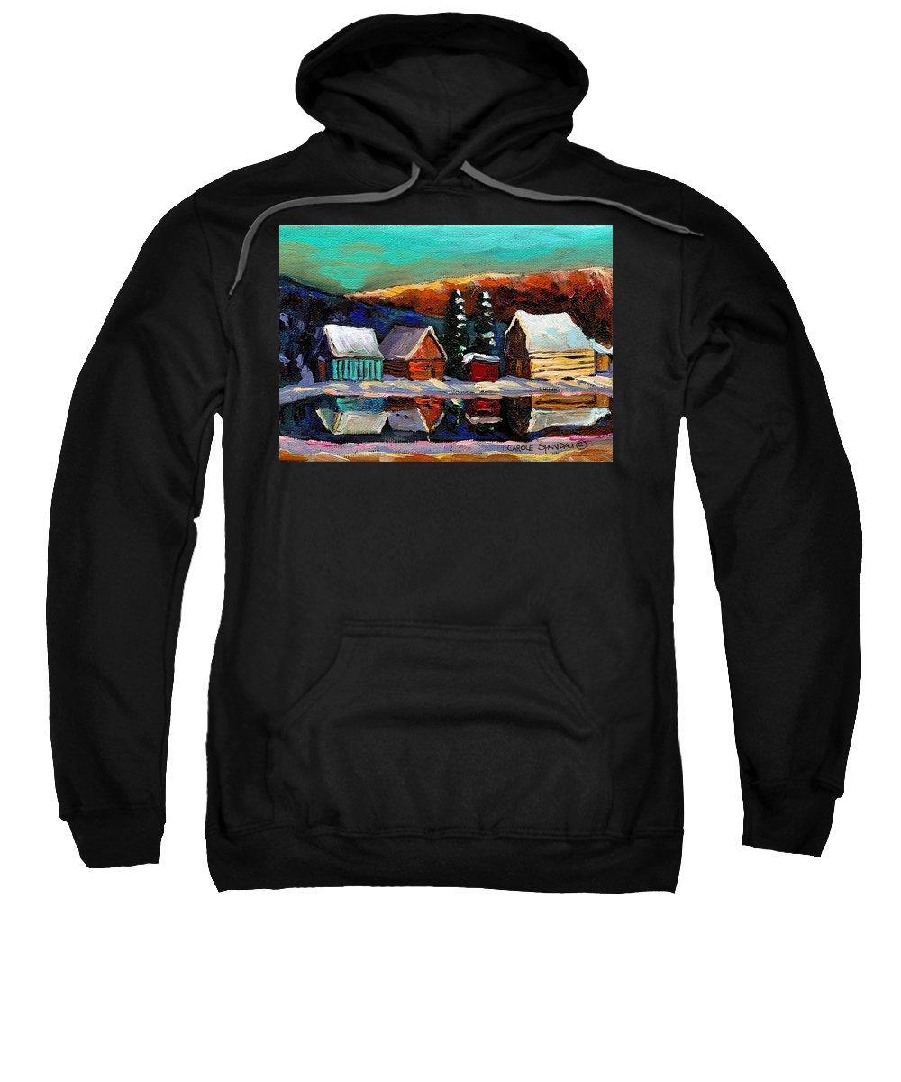 Quebec Winter Landscape Sweatshirt featuring the painting Laurentian Landscape Quebec Winter Scene by Carole Spandau