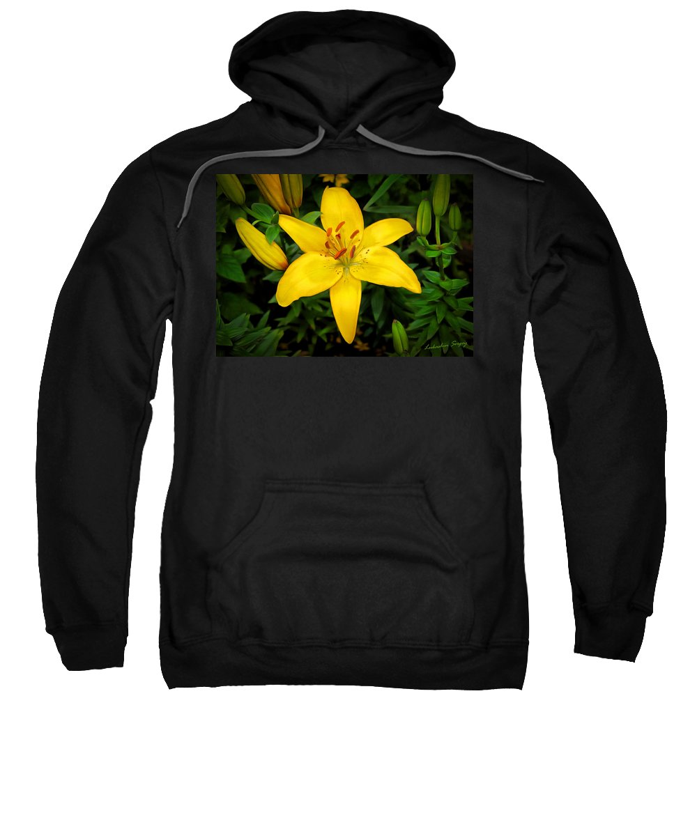 Yellow Sweatshirt featuring the painting Yellow Lily by Sergey Lukashin