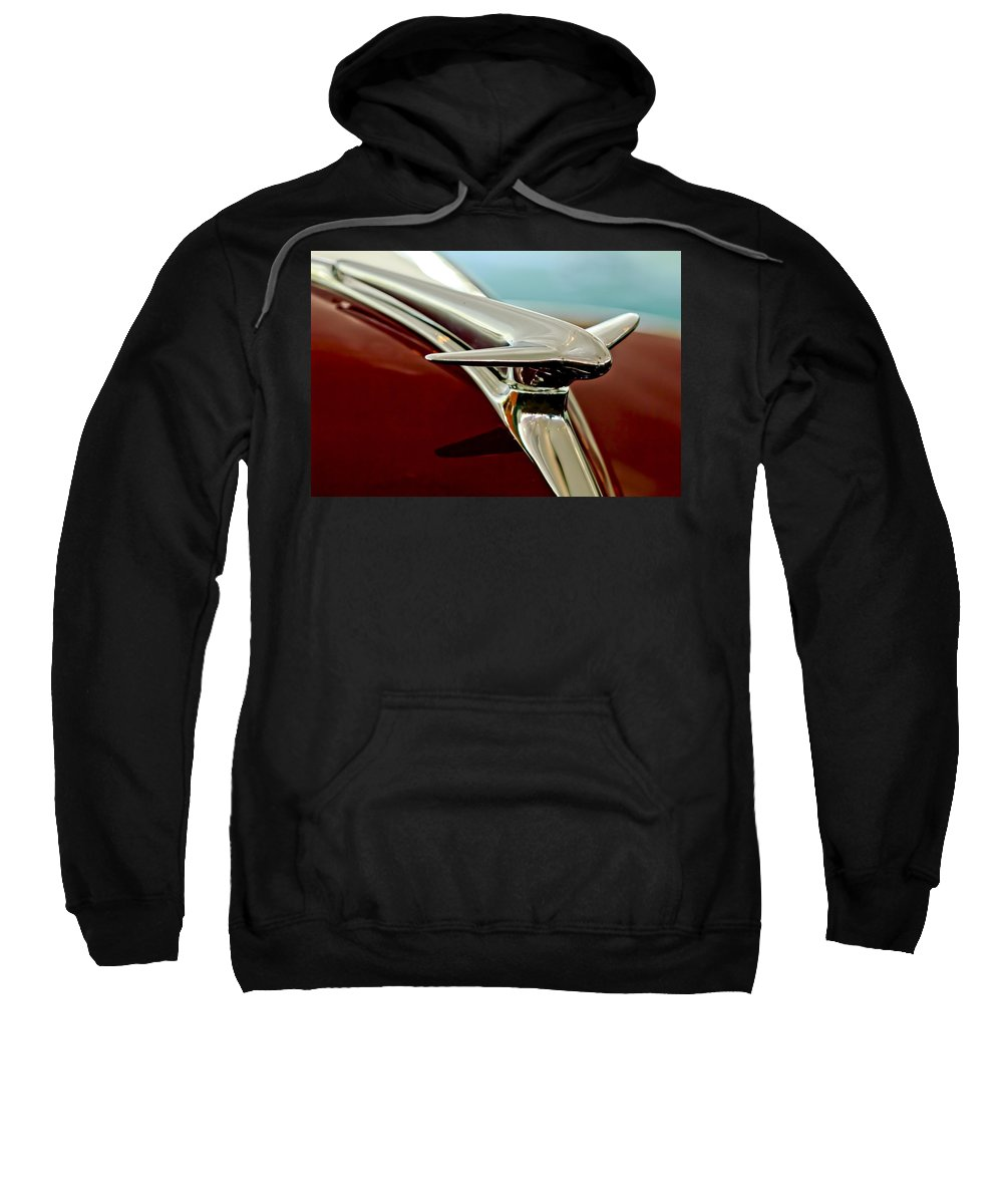 1938 Lincoln Zephyr Sweatshirt featuring the photograph 1938 Lincoln Zephyr Hood Ornament by Jill Reger