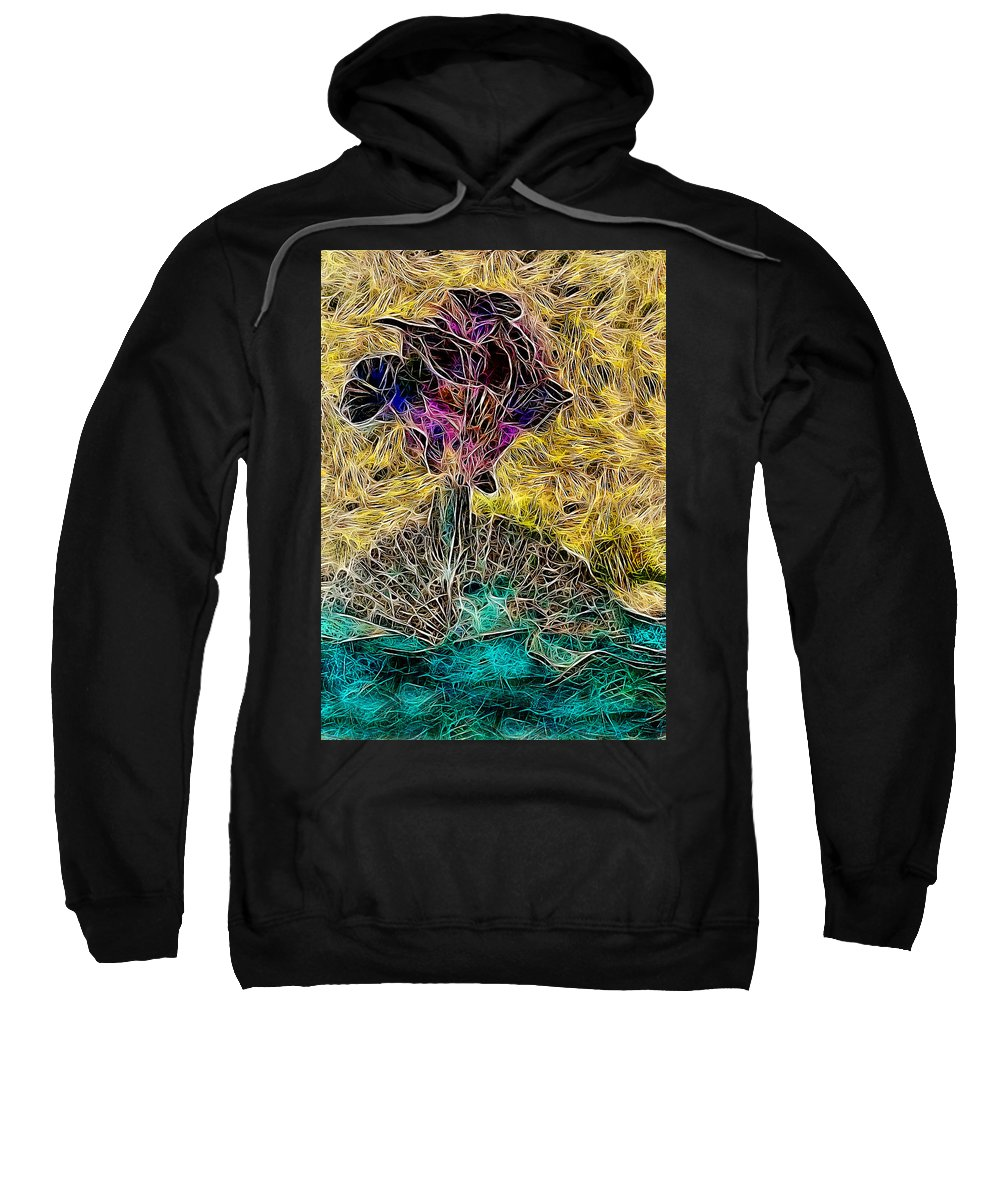 Abstract Sweatshirt featuring the painting Abstract Flowers by Galeria Trompiz