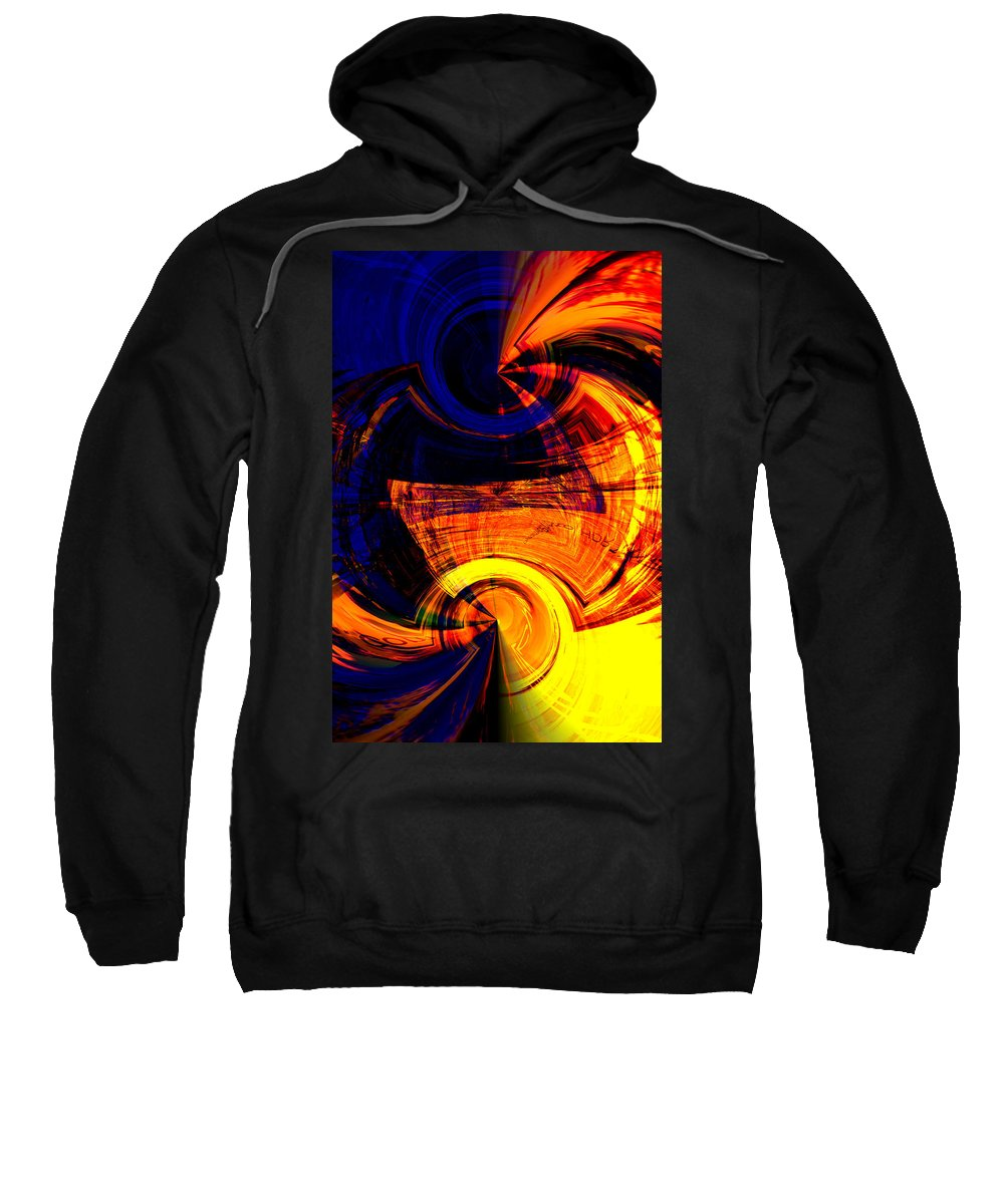 Abstract Green Yellow Orange White Blue Sweatshirt featuring the digital art Abstract by Galeria Trompiz