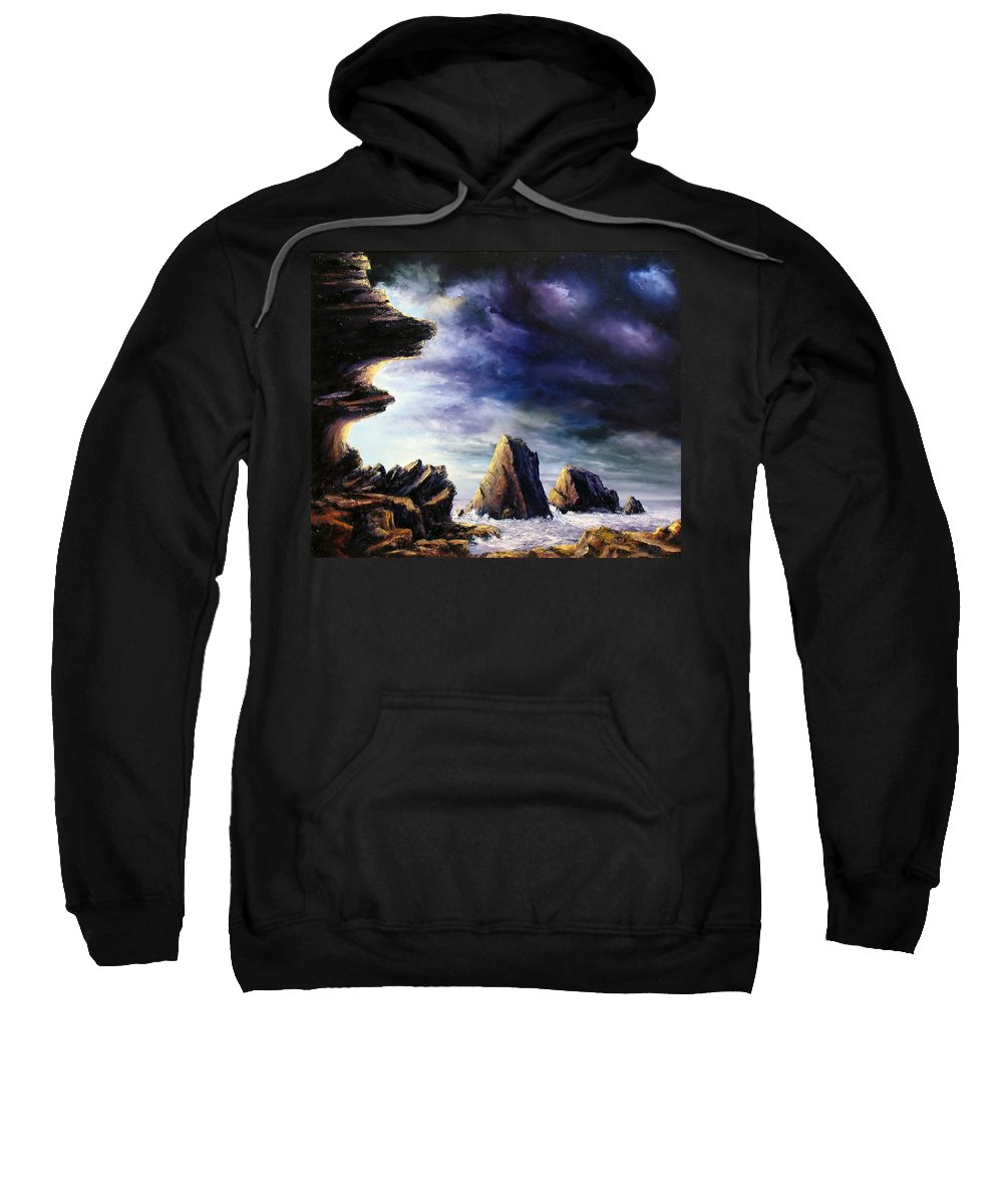 Seascapes.seascape Sunset Sweatshirt featuring the painting Approaching Storm by John Cocoris