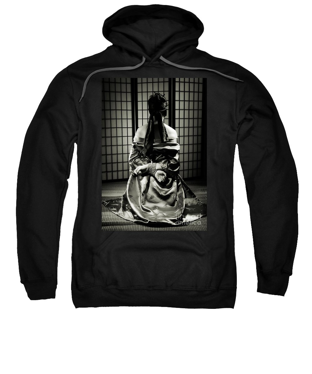 Bondage Sweatshirt featuring the photograph Asian Woman With Her Hands Tied Behind Her Back by Oleksiy Maksymenko