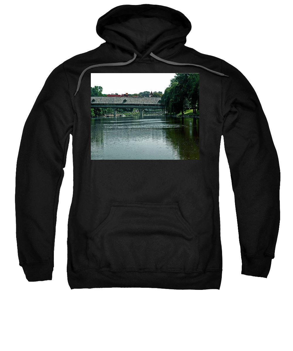 Usa Sweatshirt featuring the photograph Bavarian Covered Bridge by LeeAnn McLaneGoetz McLaneGoetzStudioLLCcom