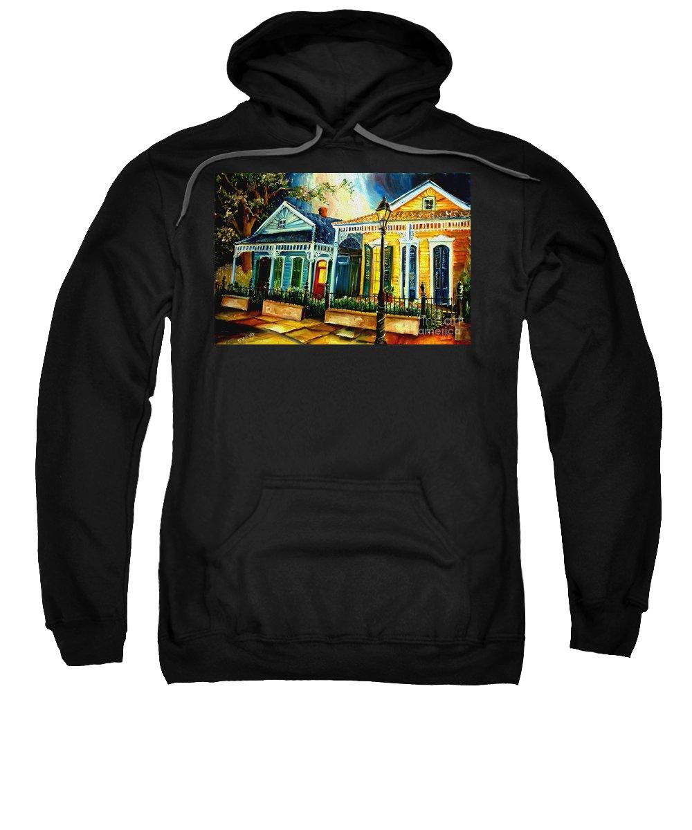 New Orleans Sweatshirt featuring the painting Big Easy Neighborhood by Diane Millsap