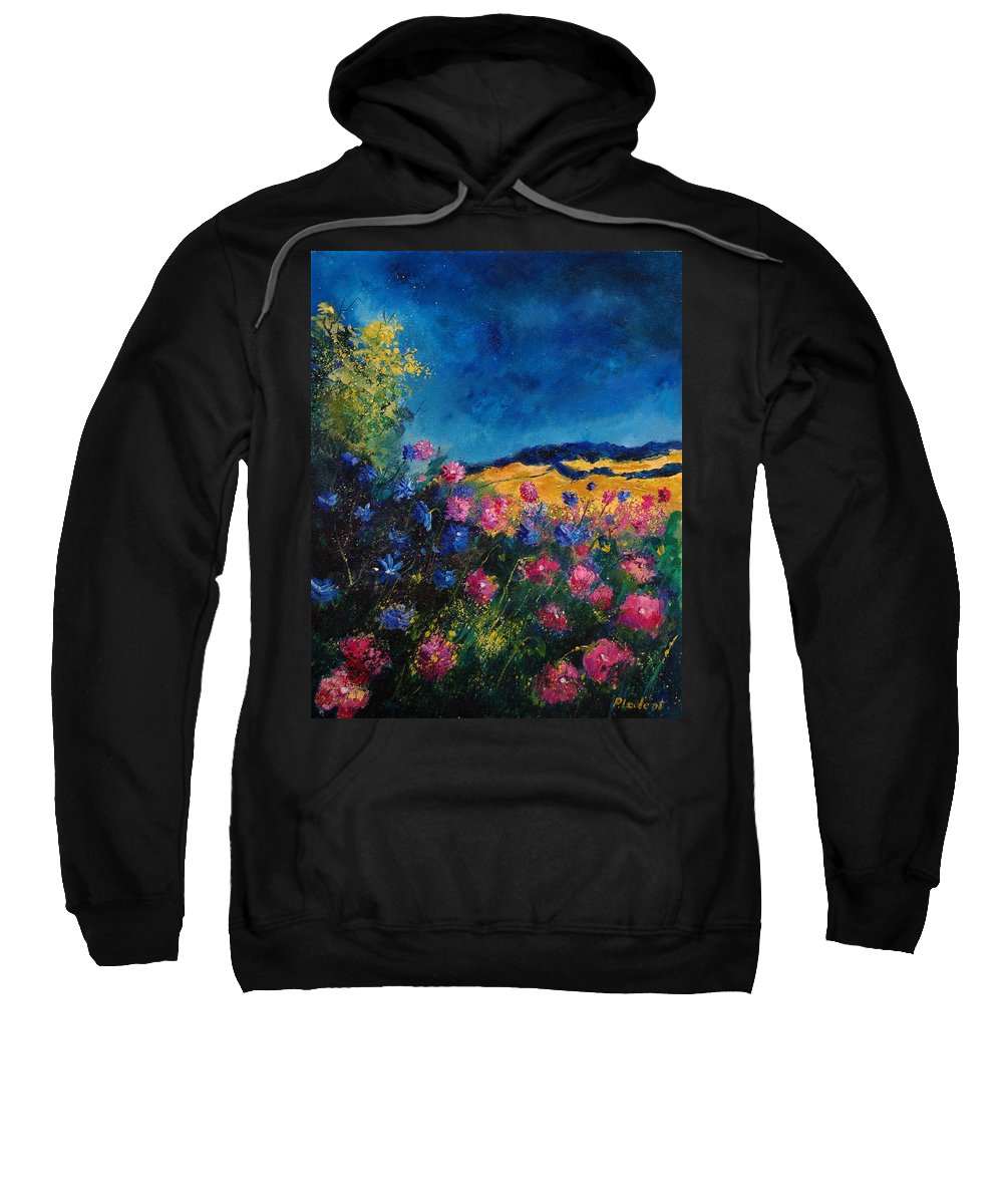 Flowers Sweatshirt featuring the painting Blue And Pink Flowers by Pol Ledent