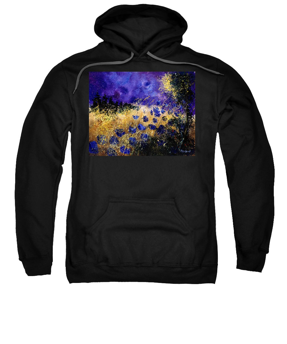 Poppies Sweatshirt featuring the painting Blue cornflowers by Pol Ledent