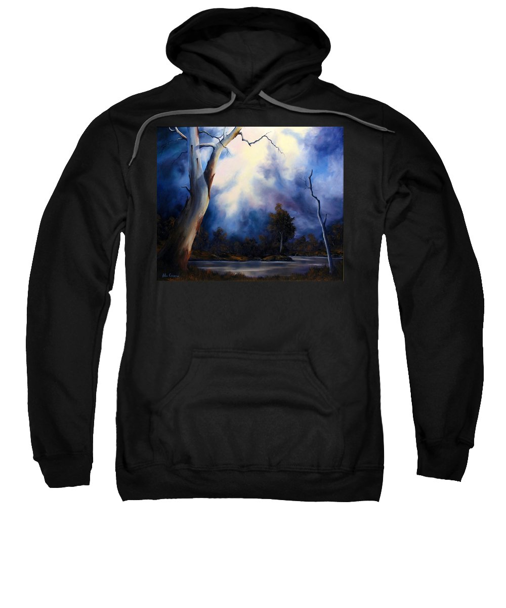 Landscape Oil Paintings.sunset.river.gumtrees. Sweatshirt featuring the painting Blue Mood by John Cocoris