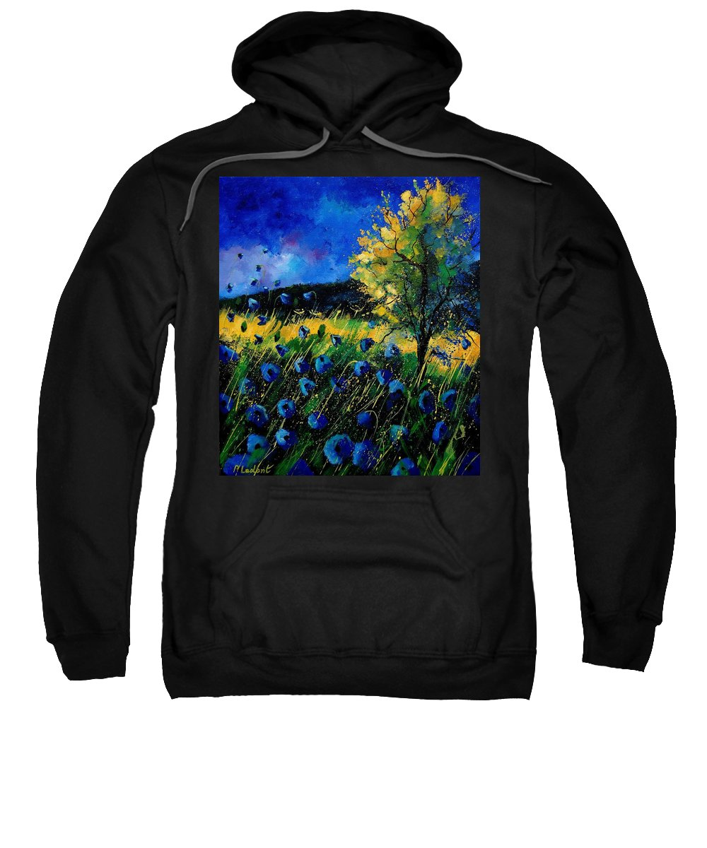 Poppies Sweatshirt featuring the painting Blue Poppies by Pol Ledent