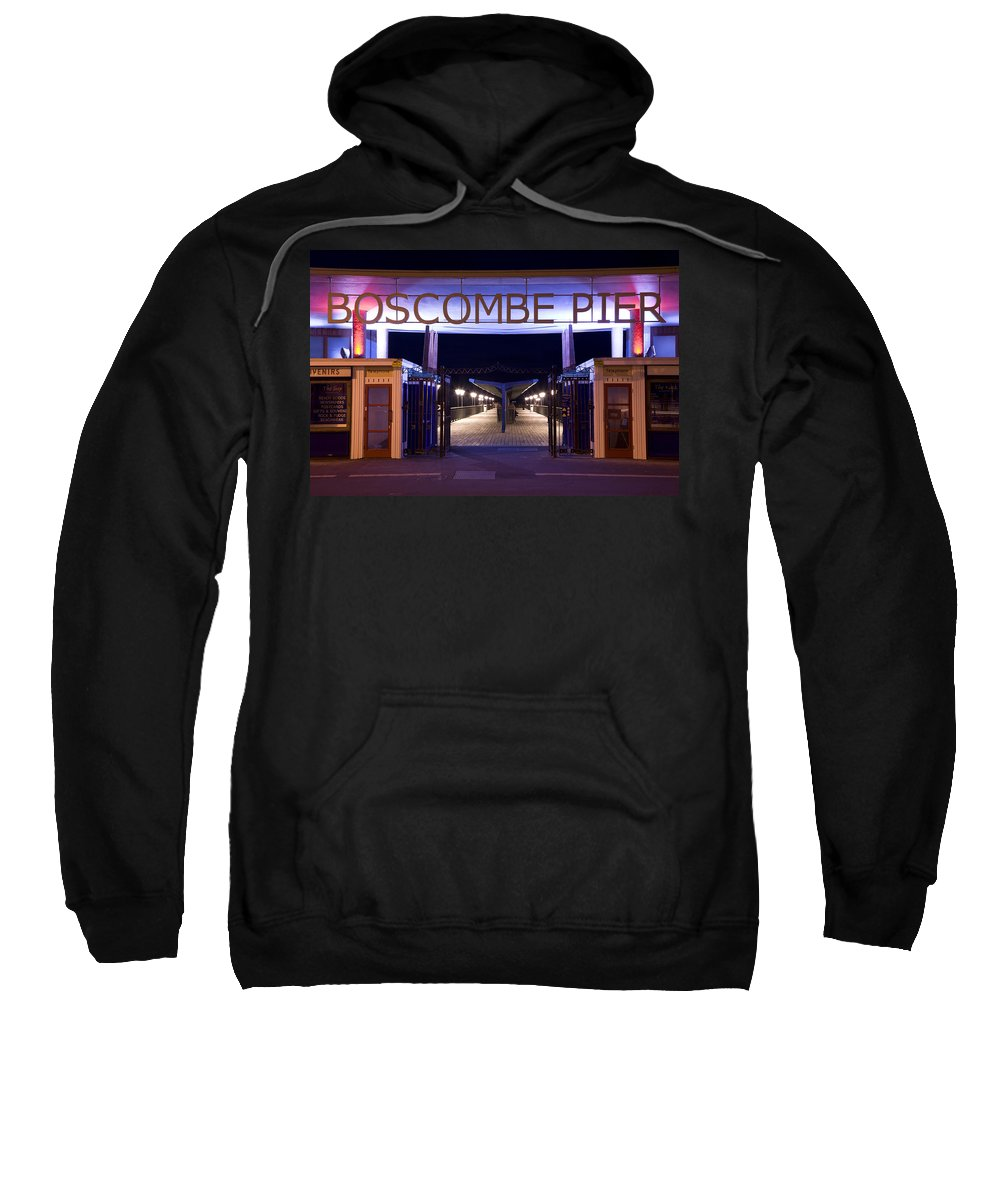 Boscombe Sweatshirt featuring the photograph Boscombe Pier At Night by Ian Middleton
