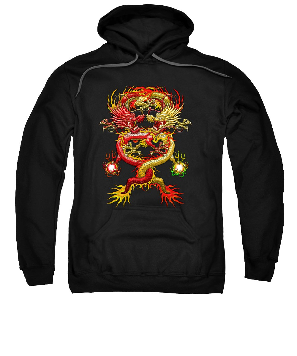 �treasures Of Asia� Collection By Serge Averbukh Sweatshirt featuring the photograph Brotherhood Of The Snake - The Red And The Yellow Dragons by Serge Averbukh