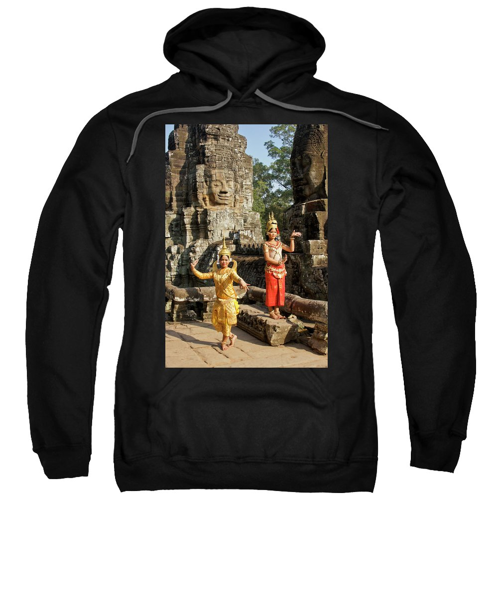 Asia Sweatshirt featuring the photograph Cambodian Dancers At Angkor Thom by Michele Burgess