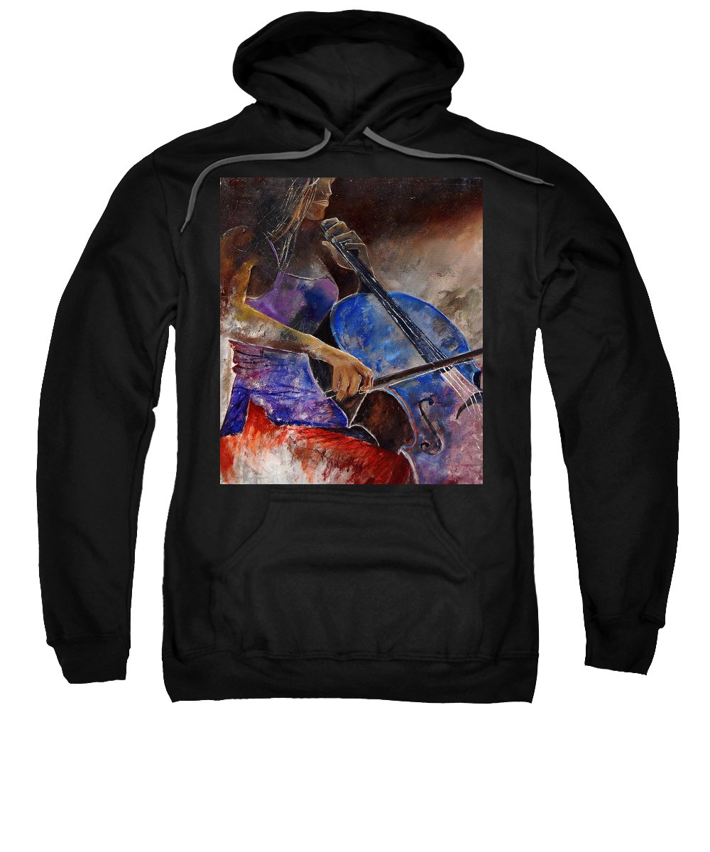 Music Sweatshirt featuring the painting Cello Player by Pol Ledent