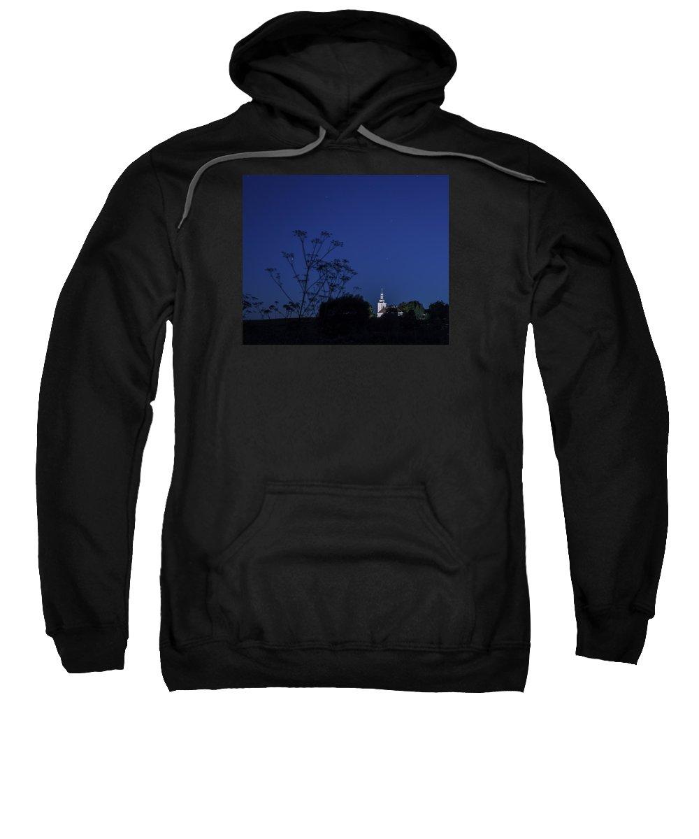 Church Sweatshirt featuring the photograph Church Under Night Sky by Zoltan Albertini