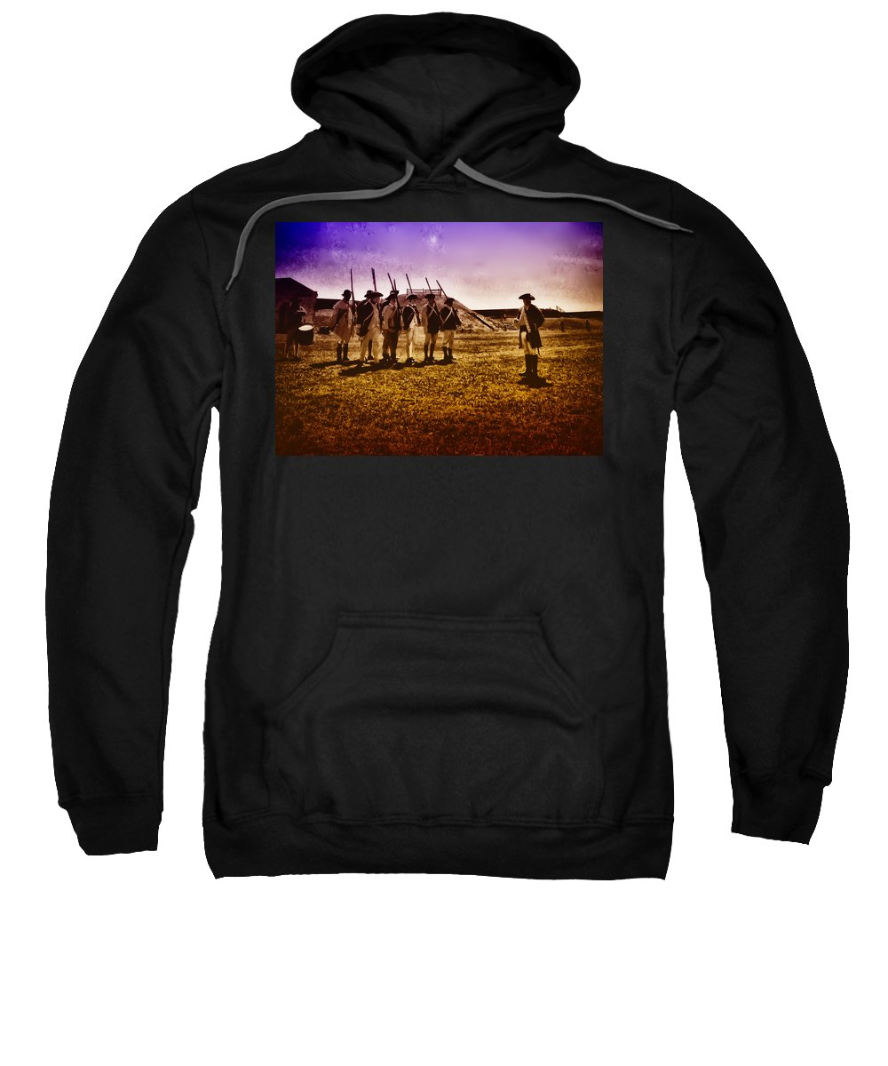 Philadelphia Sweatshirt featuring the photograph Colonial Soldiers At Fort Mifflin by Bill Cannon