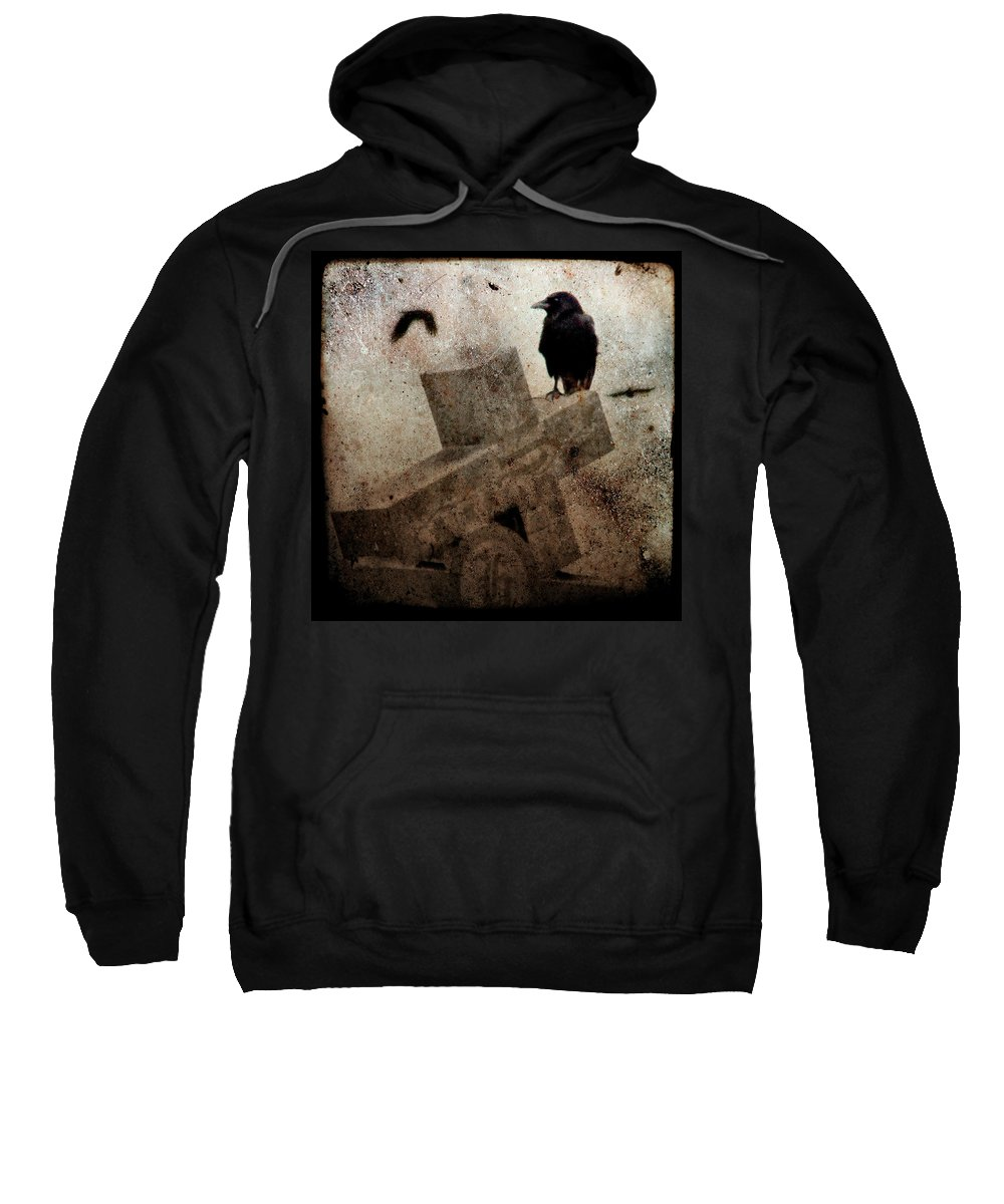 Crow Sweatshirt featuring the photograph Cross With Crow by Gothicrow Images