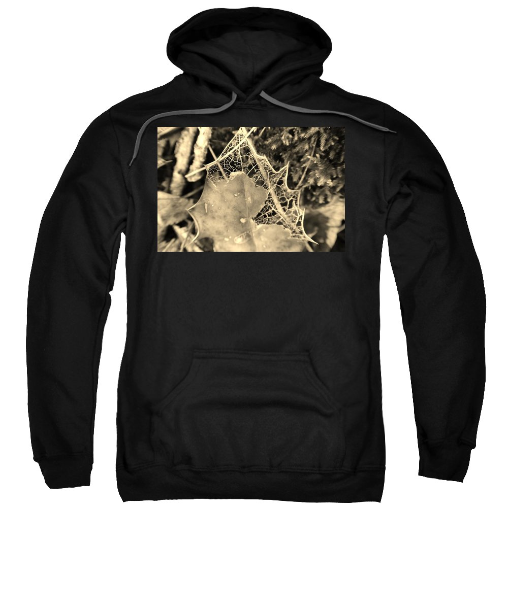 Filtered Decay Sweatshirt featuring the photograph Decayed Lacing by Jayne Borden