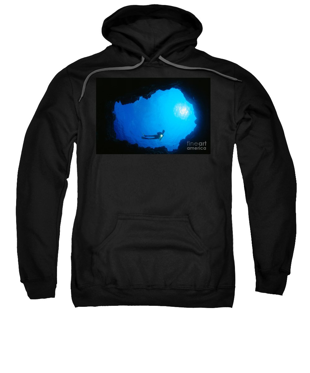 C1368 Sweatshirt featuring the photograph Diver At Cavern Entrance by Dave Fleetham - Printscapes