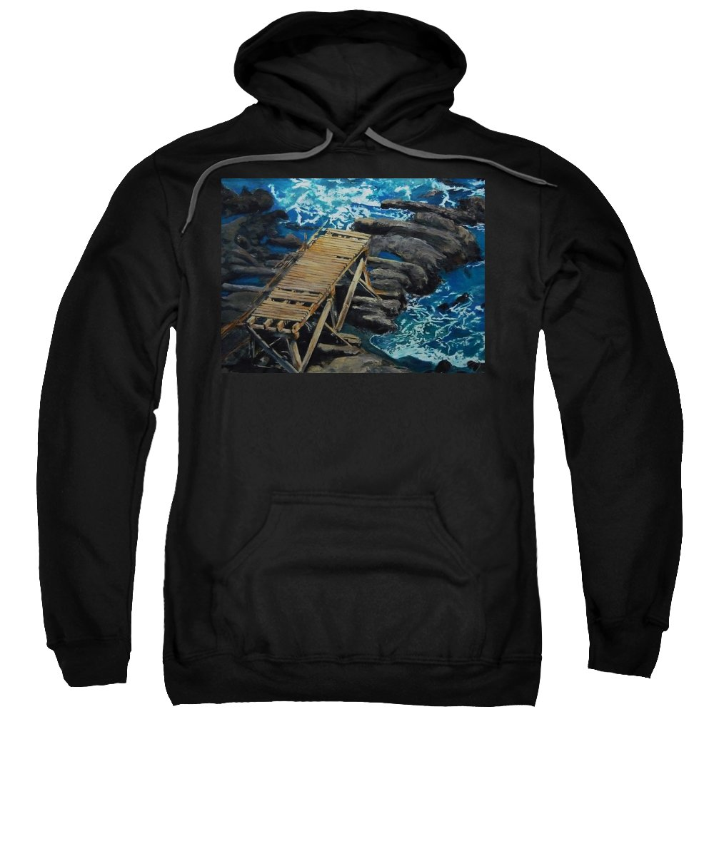 Dock Sweatshirt featuring the painting Dock by Travis Day