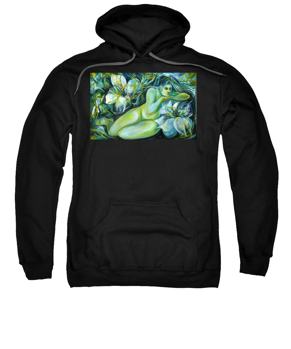 Fantasy Art Sweatshirt featuring the painting Dreaming Flower by Anna Duyunova
