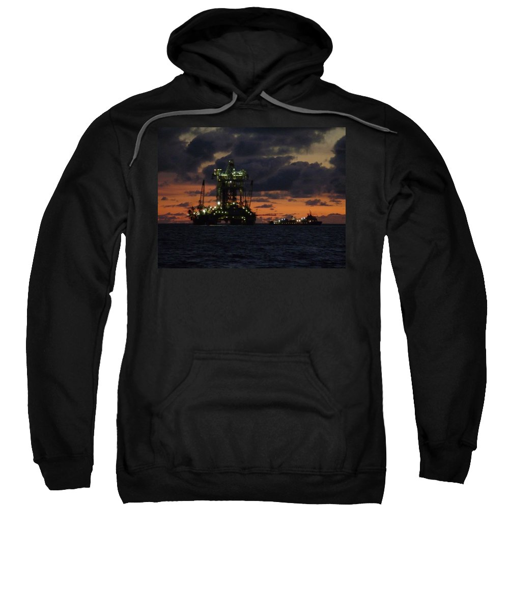 Off Shore Sweatshirt featuring the photograph Drill Rig At Dusk by Charles and Melisa Morrison