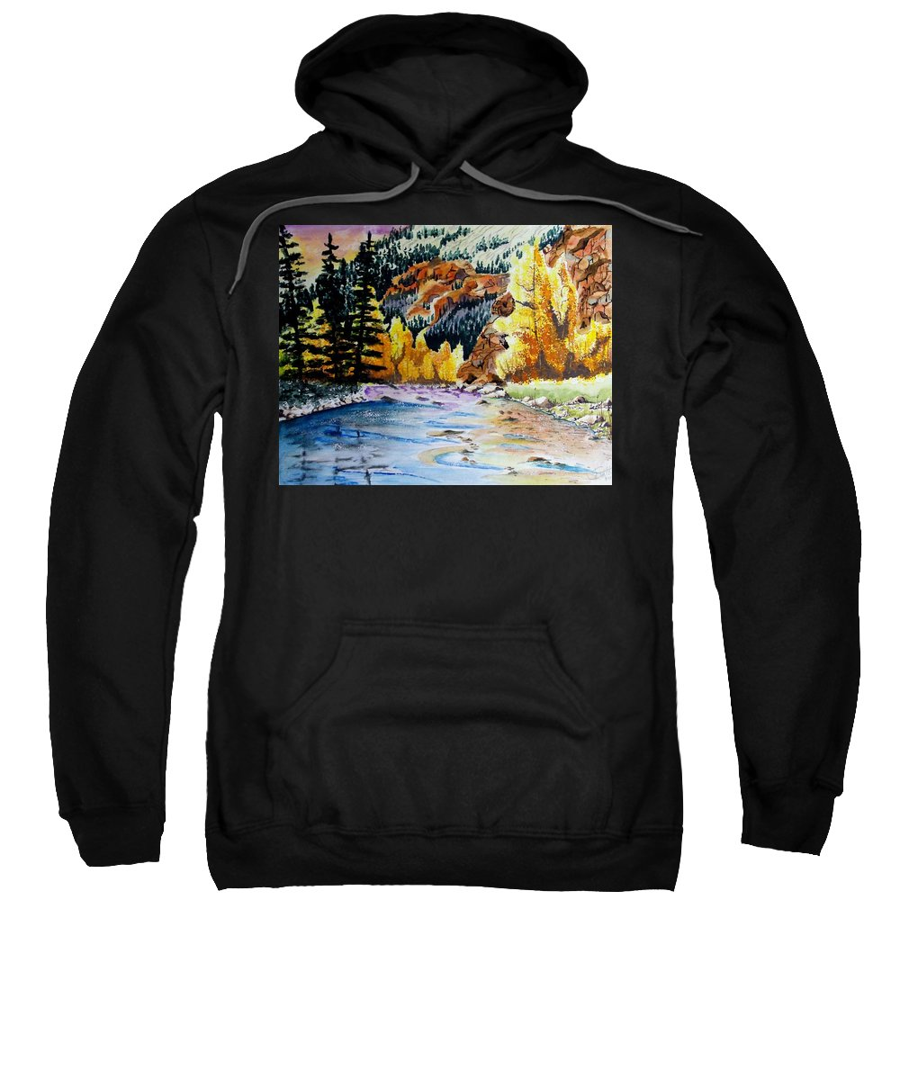 Creek Sweatshirt featuring the painting East Clear Creek by Jimmy Smith