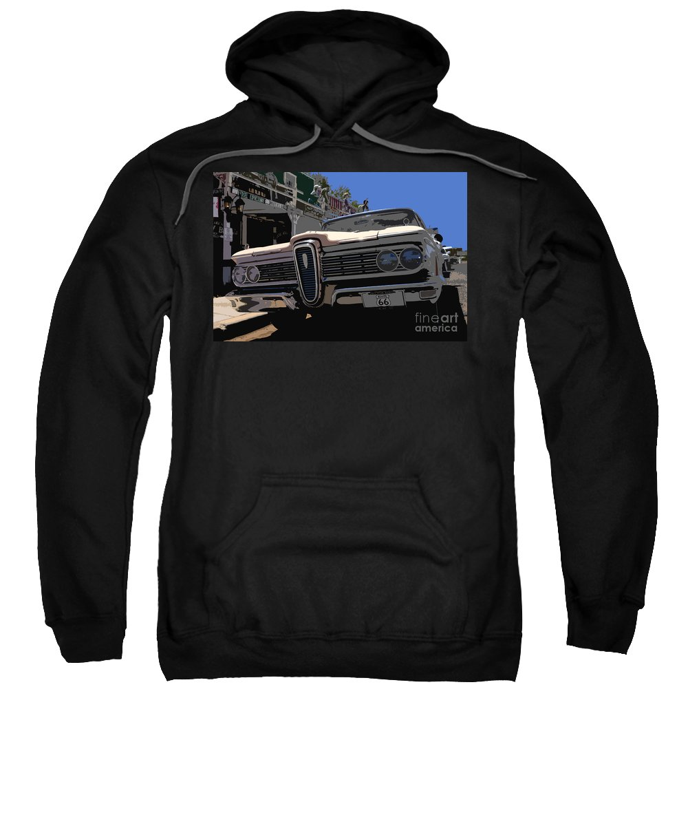 Route 66 Sweatshirt featuring the painting Edsel On Route 66 by David Lee Thompson