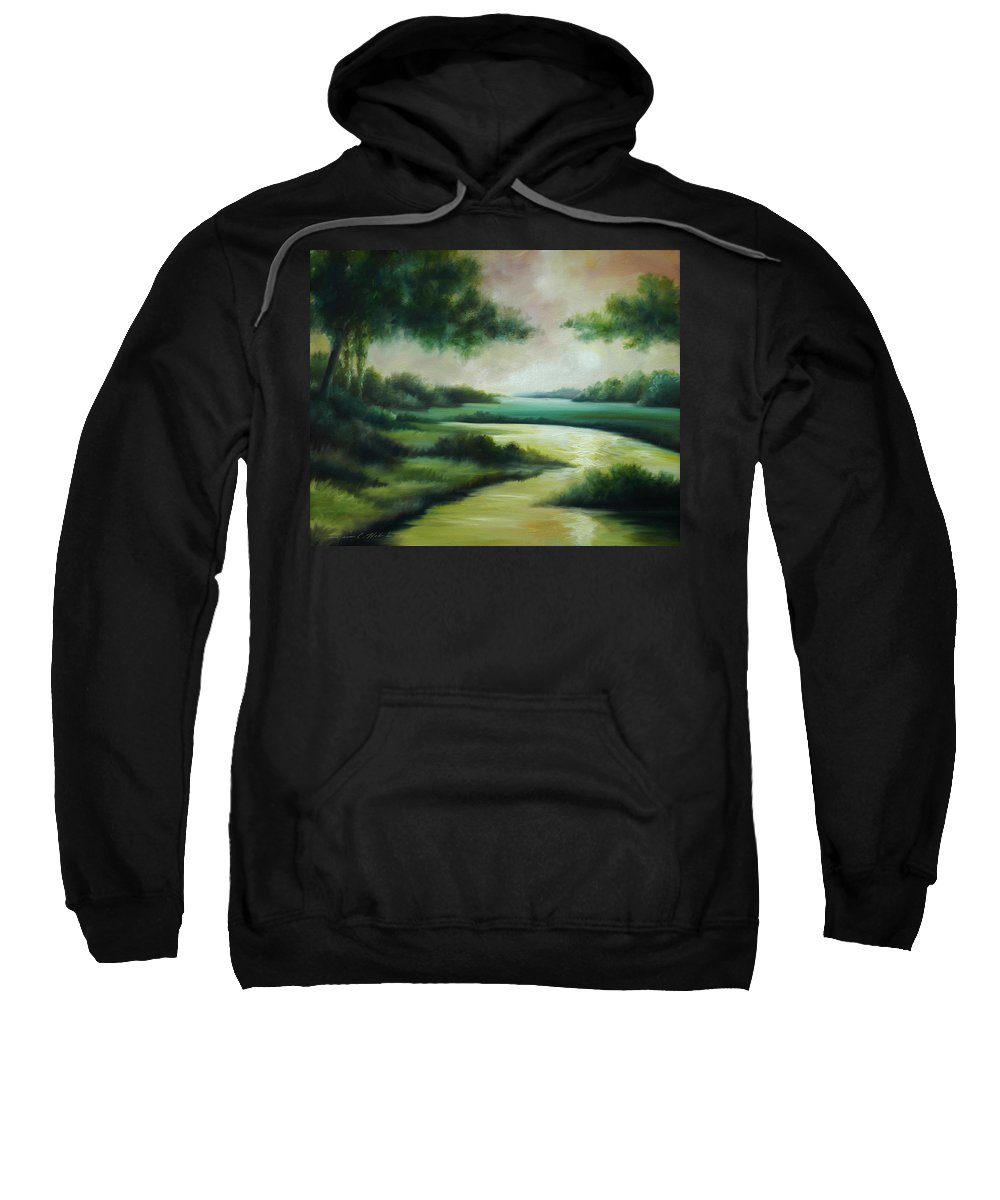 Bright Clouds; Sunsets; Reflections; Ocean; Water; Purple; Orange; Storms; Lightning; Contemporary; Abstract; Realism; James Christopher Hill; James Hill Studios; James C. Hilll; Forest; Flowers; Trees; Green; River; Water Sweatshirt featuring the painting Emerald Forest by James Christopher Hill