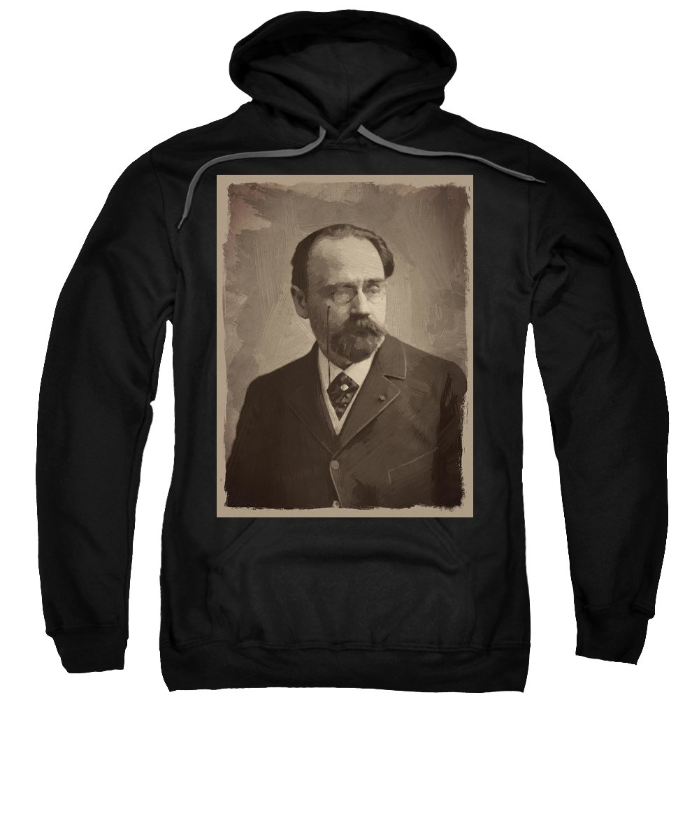 Emile Zola Sweatshirt featuring the digital art Emile Zola by Afterdarkness
