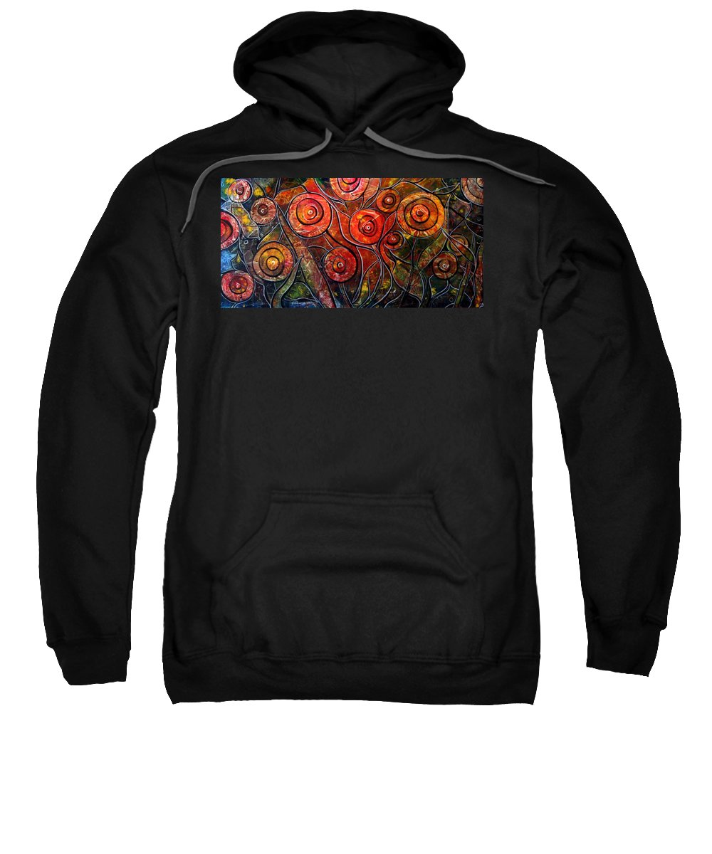 Exotic Sweatshirt featuring the painting Exotic Foliage by Luiza Vizoli