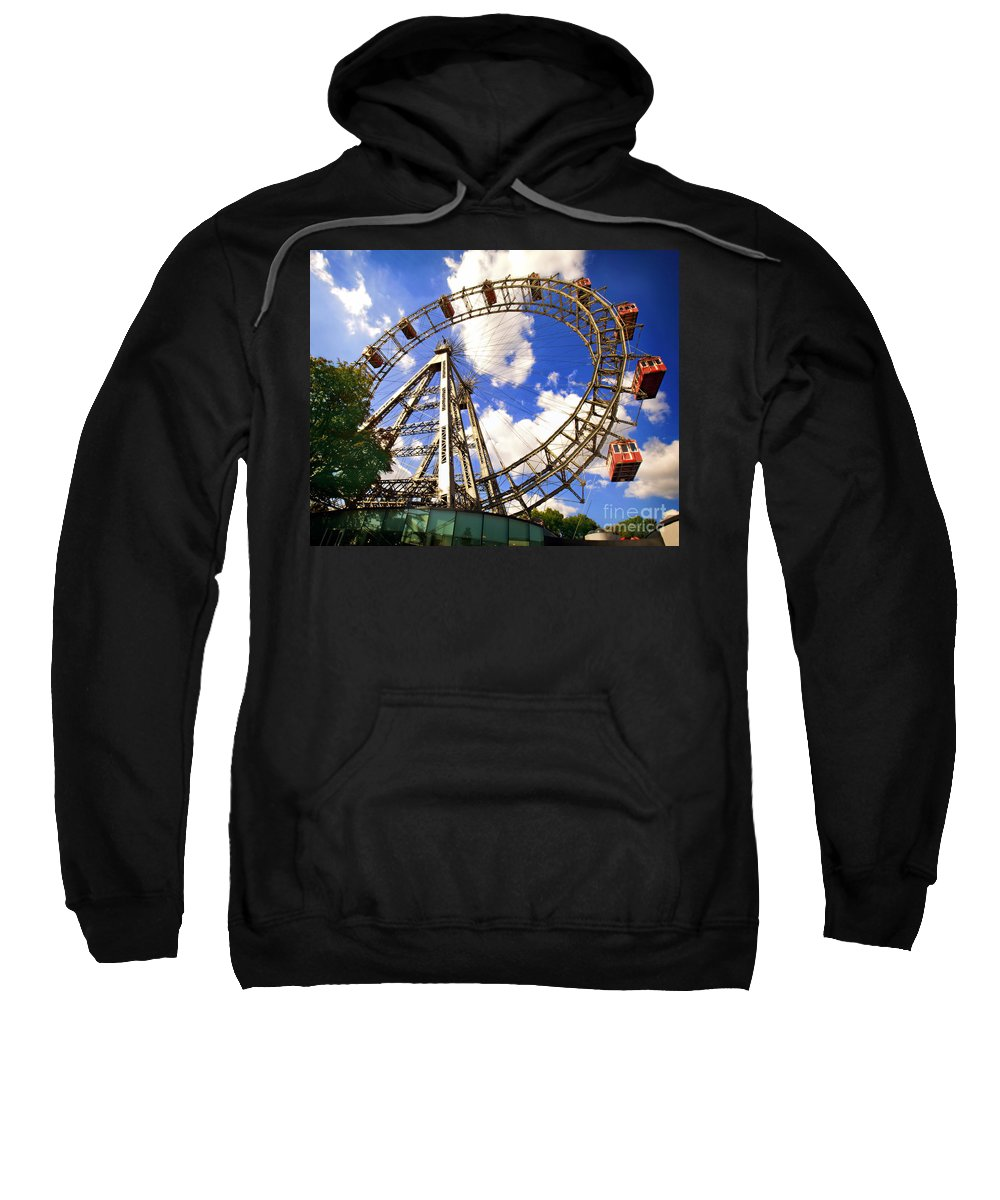 Ferris Wheel Sweatshirt featuring the photograph Ferris Wheel At The Prater by Madeline Ellis