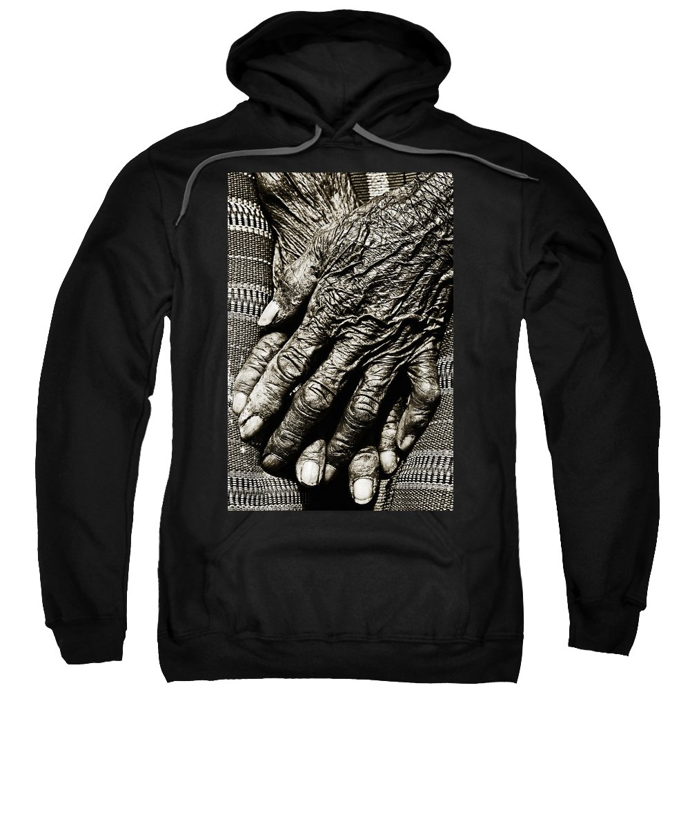 80-90 Yrs Sweatshirt featuring the photograph Old Hands by Skip Nall