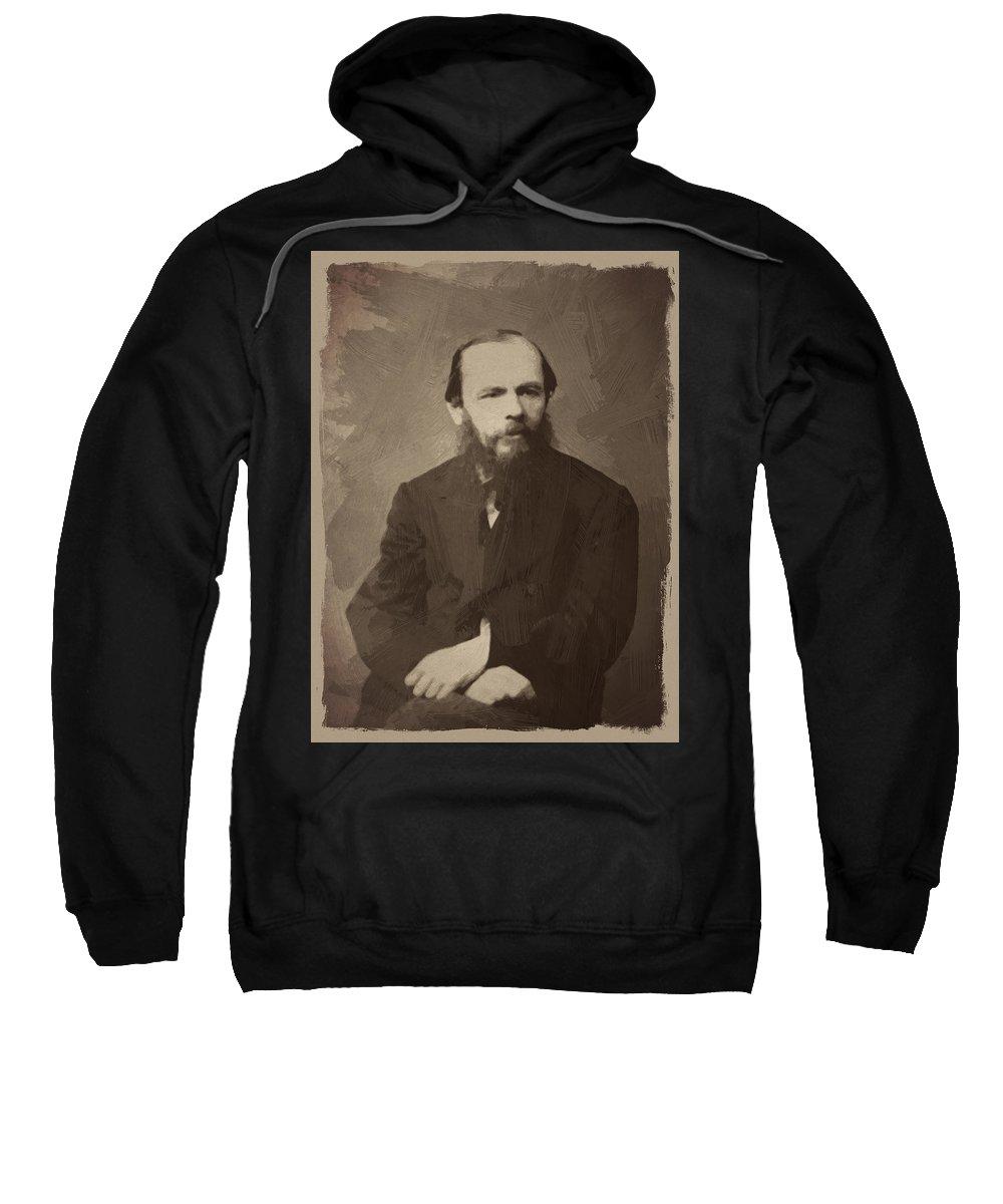Fyodor Dostoevsky Sweatshirt featuring the digital art Fyodor Dostoevsky by Afterdarkness